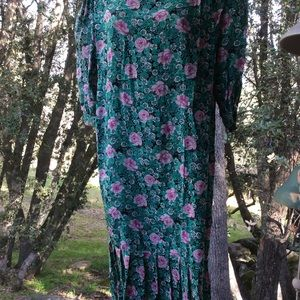 Vintage Silk Spring Floral Chemise ROSE Dress 6P